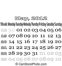 May 2012 monthly calendar