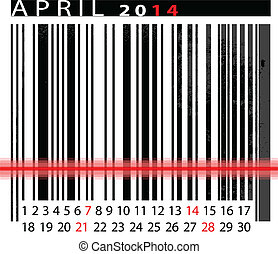 MAY 2014 Calendar, Barcode Design. vector illustration