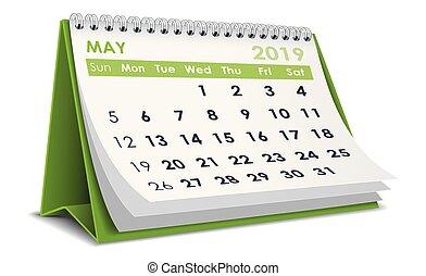 May 2019 3D desktop calendar in white background