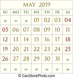 May 2019 sq bl - 2019 Calendar for the month of May on black...