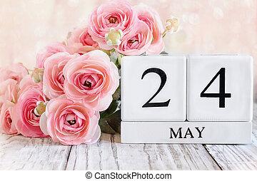 May 24 Calendar Blocks with Pink Ranunculus