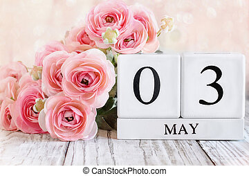 May 3 Calendar Blocks with Pink Ranunculus
