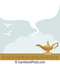May All Your Wishes Come True - Magic lamp background with...