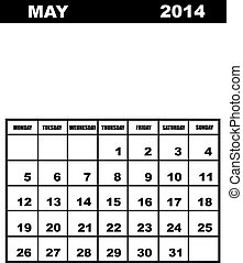May calendar 2014 isolated