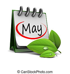 3d illustration of calendar with may page and green leaf, over white background