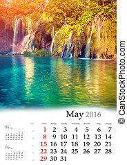 may., calendrier, 2016.