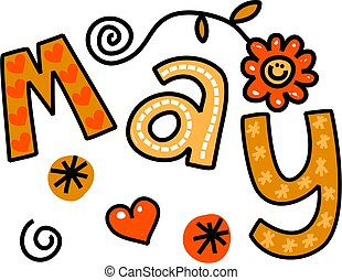 May Clip Art - Whimsical cartoon text doodle for the month...