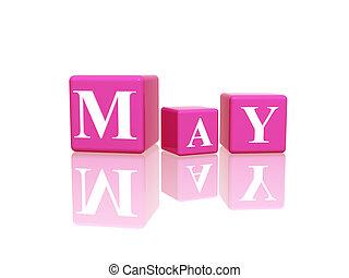 may in 3d cubes - 3d pink cubes with letters makes may
