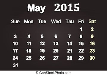 May Month 2015 Calendar On Blackboard