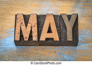 May month in vintage wood type