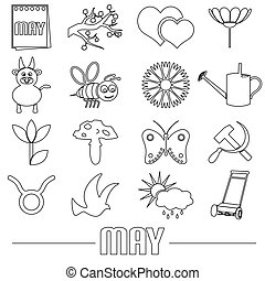 may month theme set of simple outline icons eps10