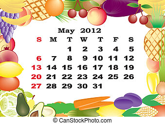 May - monthly calendar 2012 in colorful frame