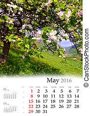 may., naptár, 2016.