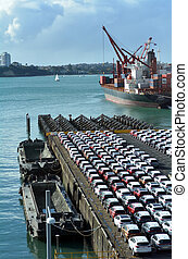 May new cars on Captain Cook Wharf in Ports of Auckland New Zealand