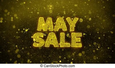 May Sale Text Golden Glitter Glowing Lights Shine Particles. Sale, Discount Price, Off Deals, Offer promotion offer percent discount ads 4K Loop Animation.