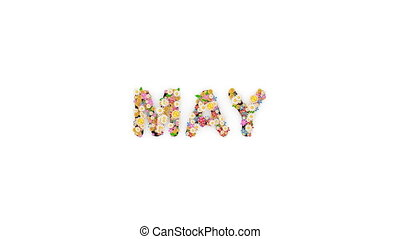 "may."", texte, animation, mois, calendrier, ""floral"