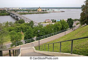 May view of bridge Kanavino and Cathedral Nevsky at Strelka