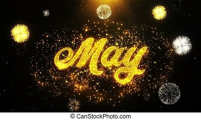 May Wishes Greetings card, Invitation, Celebration Firework...