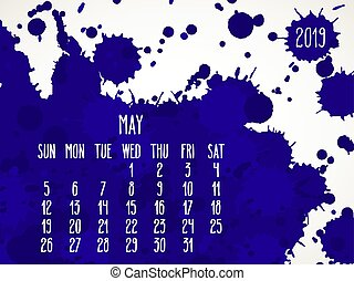 May year 2019 blue paint monthly calendar