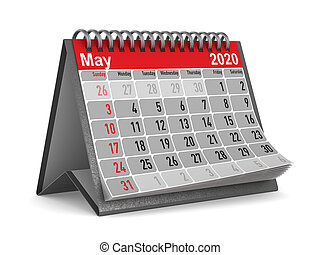may., year., isolé, 2020, calendrier, illustration, 3d