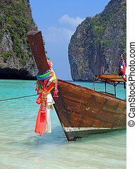 maya, île, baie, long-tail, phi-phi, bateau