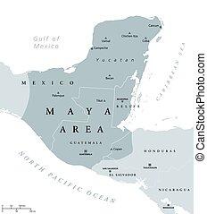Maya area political map