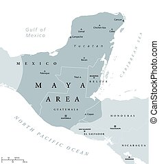 Maya area political map