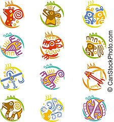 Maya art stylized zodiac signs - Maya art stylized signs of...