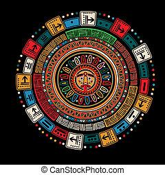Maya calendar over black background