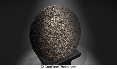 Maya calendar - Cgi Maya calendar over a pillar.