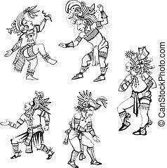 maya, caractères, danse