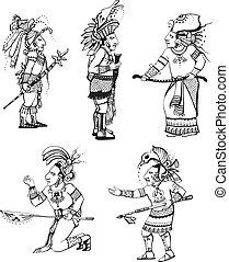 maya, caractères, gens