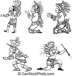 Maya characters - People characters in ancient maya style....