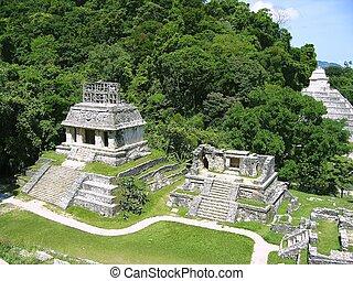 maya, chiapas, mexikó, mayan, palenque, tönkretesz