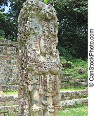 maya, deus, pedra, estátua, com, algum, colorido, pintura,...