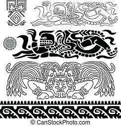 maya, dioses, y, ornamentos