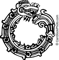 maya, dragon, aztèque, tatouage