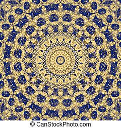 Maya geometrical fantasy - blue yellow - Blue and yellow...