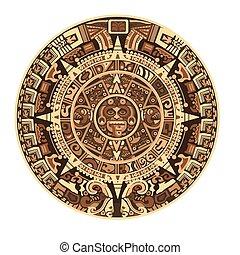 maya, hieroglyf, mayan, aztek, symboler, vektor, tegn, kalender, eller