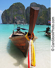 maya, isla, bahía, long-tail, phi-phi, barco