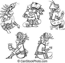 maya, karakters, zittende
