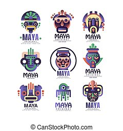 Maya logo original design set, emblems with ethnic mask, Aztec signs vector Illustrations on a white background