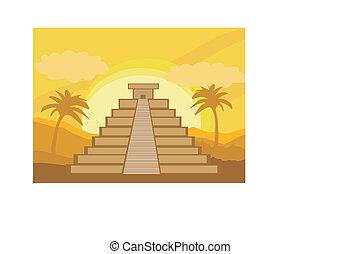 maya, méxico, pirámide, -, ilustración, vector, chichen-itza