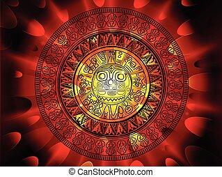 maya, naptár, képben látható, egy, vég, közül, napok, háttér