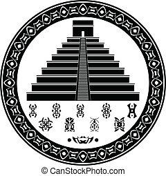 maya, pirámide, y, fantasía, símbolos