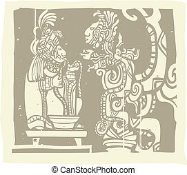 Woodblock style Mayan image with a priest and Vision Serpent