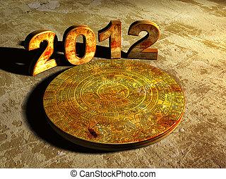 Maya prophecy  - Stone Maya calendar and numbers 2012. 3d