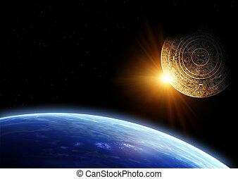Maya prophecy - Horizontal background with Maya calendar and...