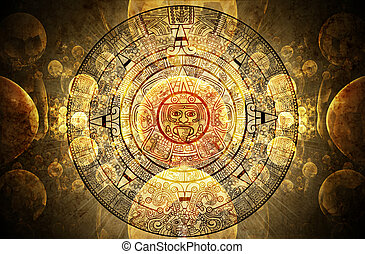 Maya prophecy  - Horizontal background with Maya calendar