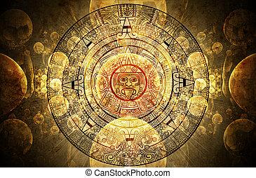 Maya prophecy - Horizontal background with Maya calendar